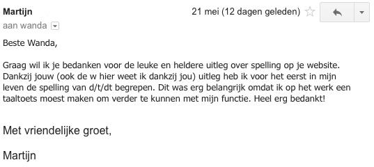 Deze mail ontving ik op 21 mei 2014.